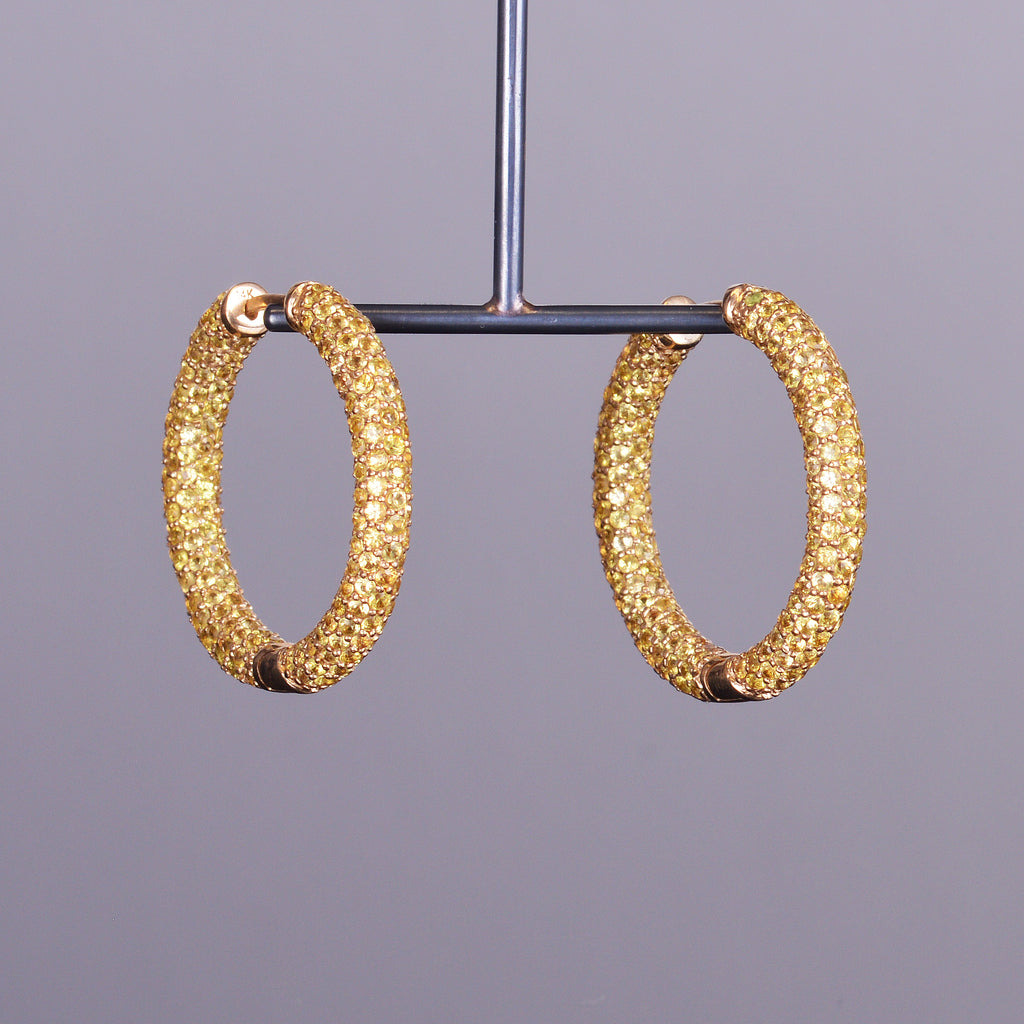 Yellow Sapphire Pave Hoops