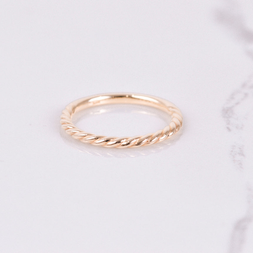 yellow gold twist stackable band