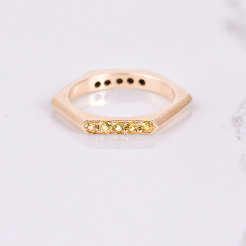 yellow sapphire rose gold band