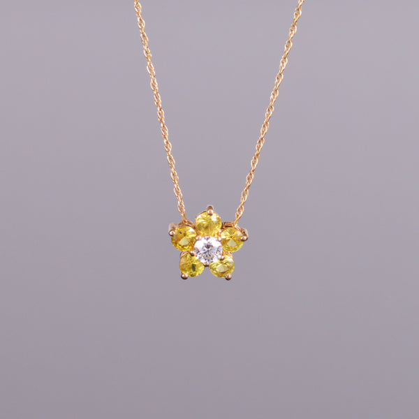 Yellow Sapphire and Diamond Flower Pendant