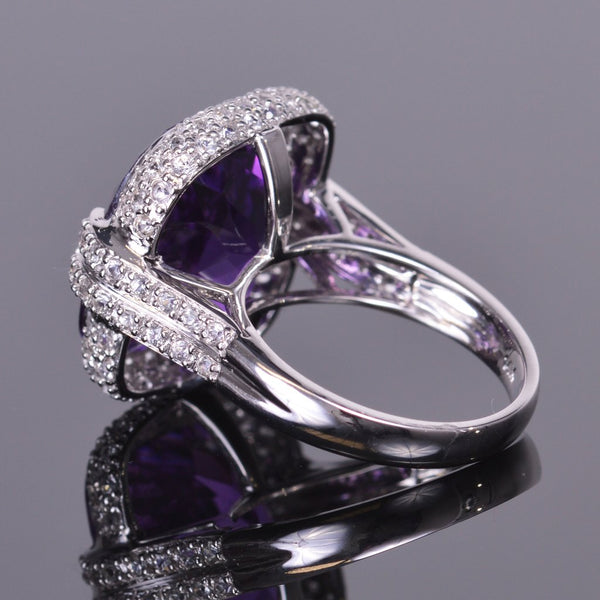 cushion amethyst ring with sapphire pave halo