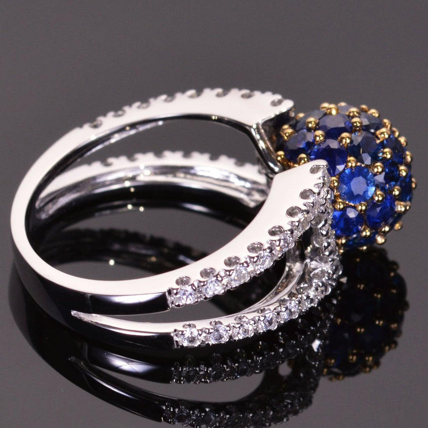 Blue sapphire sphere ring with white sapphire band in white gold