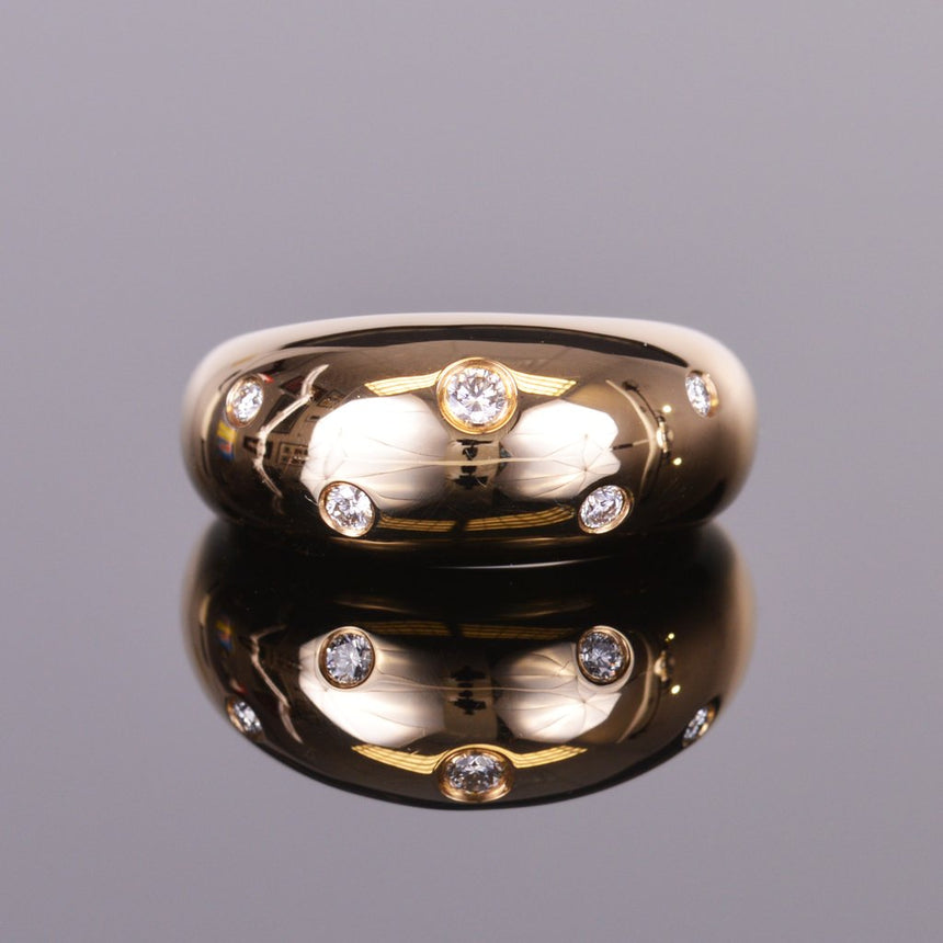 Bubble Diamond Ring in High Polish Yellow Gold