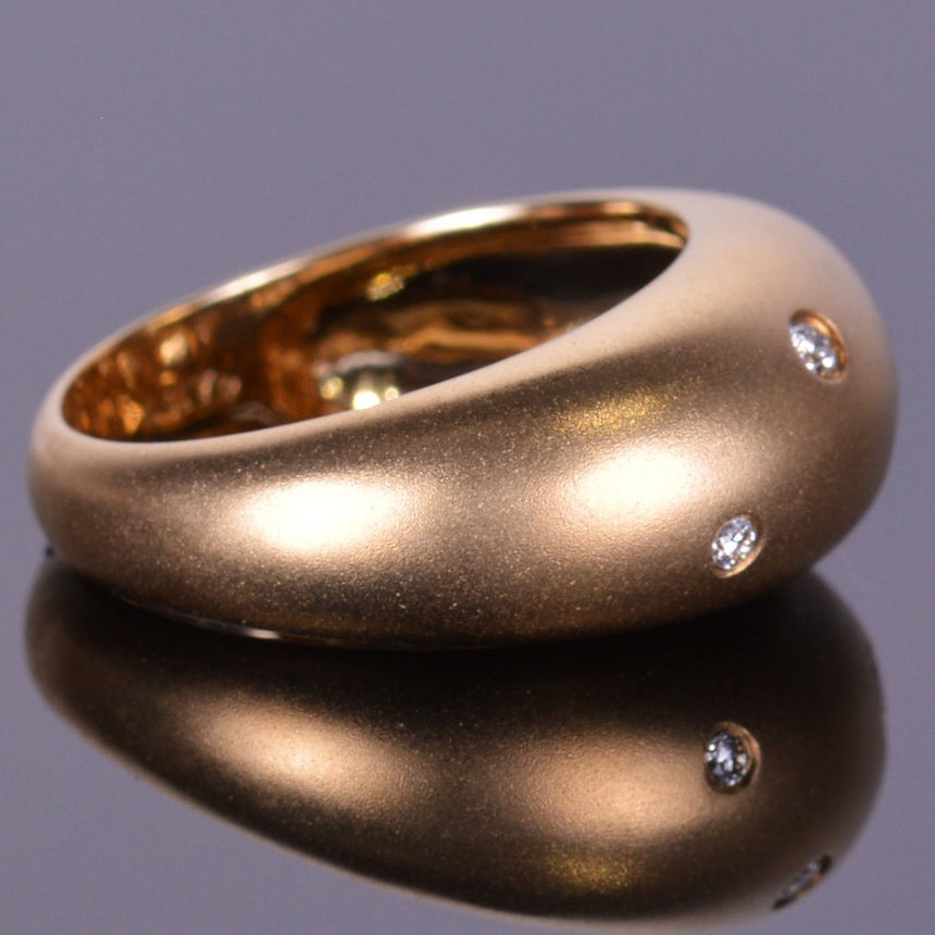 Bubble Diamond Ring in Yellow Gold- Satin Finish