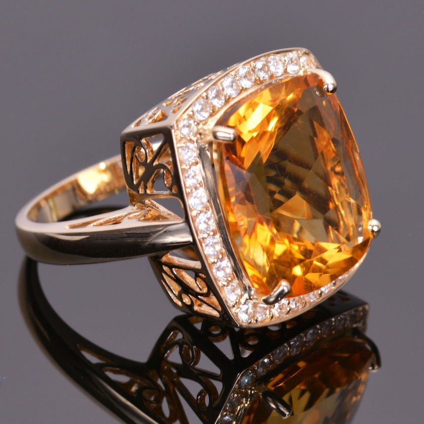 Cushion Cut Golden Citrine and White Sapphire Ring