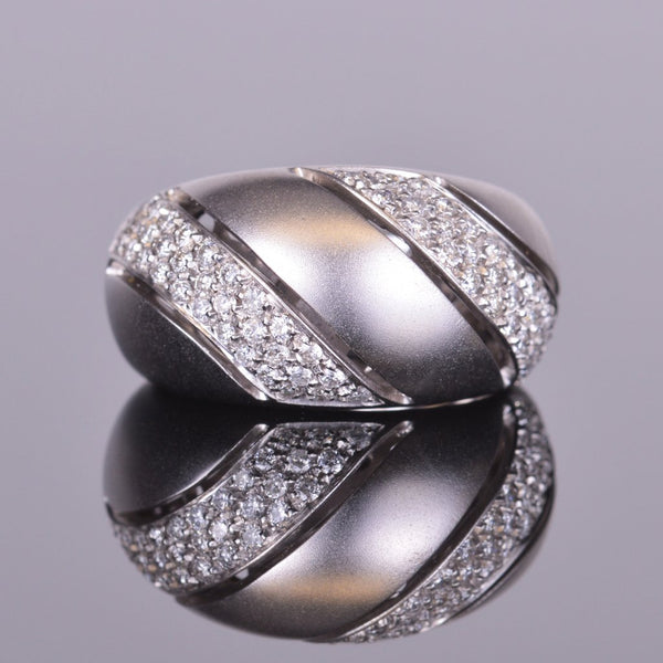 Diamond Bubble Dome Ring in White Gold
