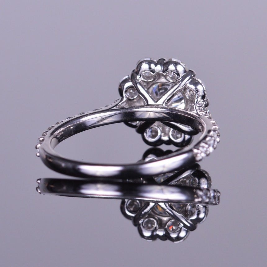 diamond flower engagement ring