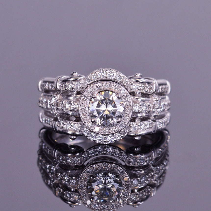 round diamond halo engagement ring and bands