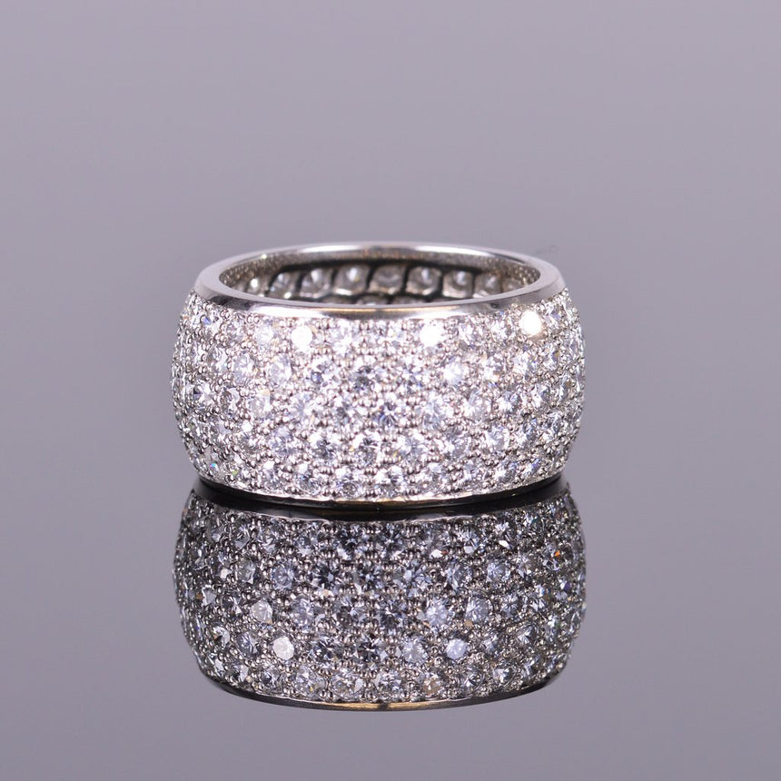 Diamond pave eternity band in platinum