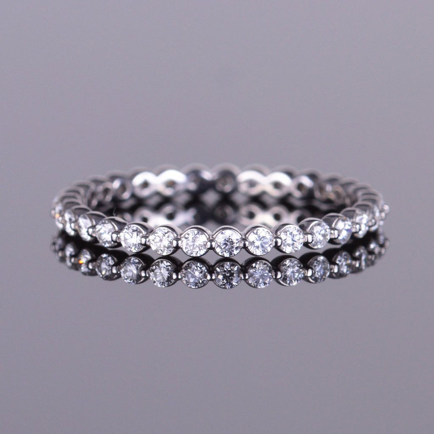 Diamond Scallop Eternity Band in White Gold