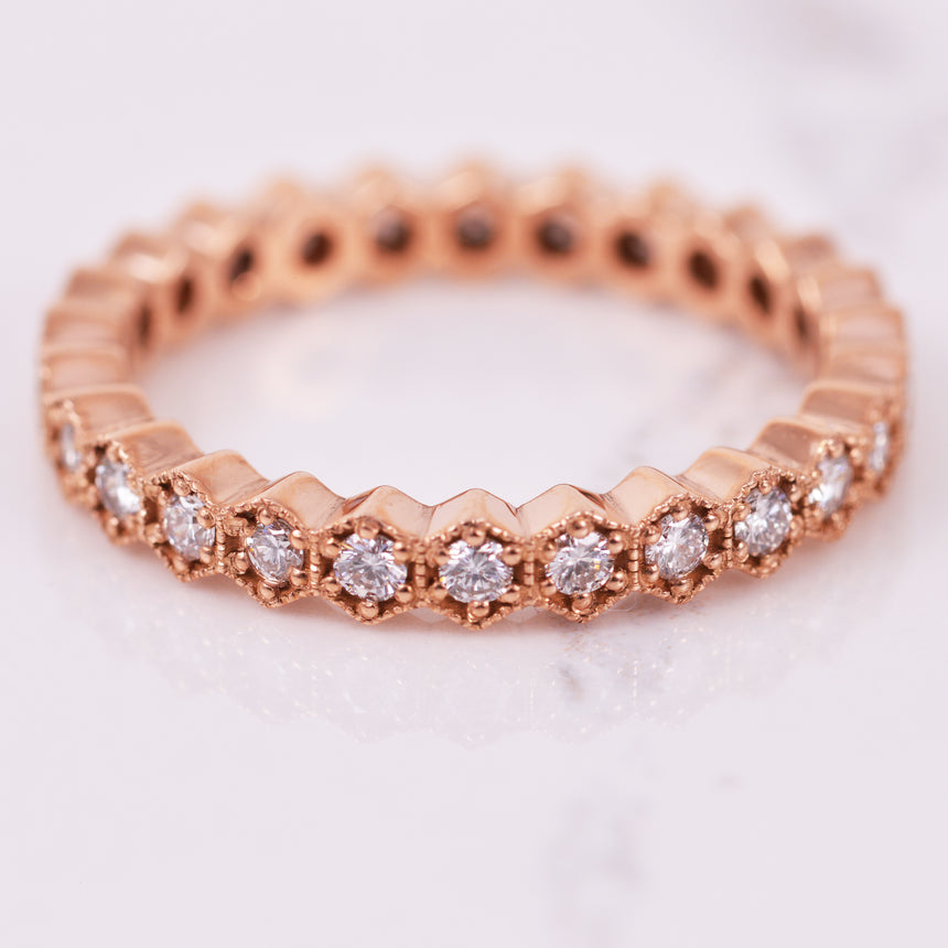 diamond hexagin eternity band in rose gold