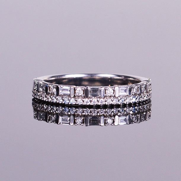 double diamond anniversary band in white gold