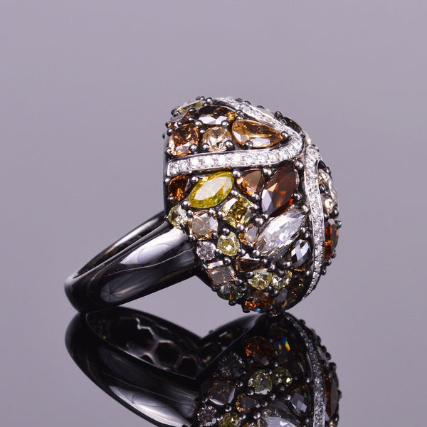 Fancy Colored Diamond Dome Ring