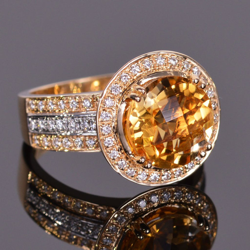 round golden citrine and diamond ring in yellow and white gold