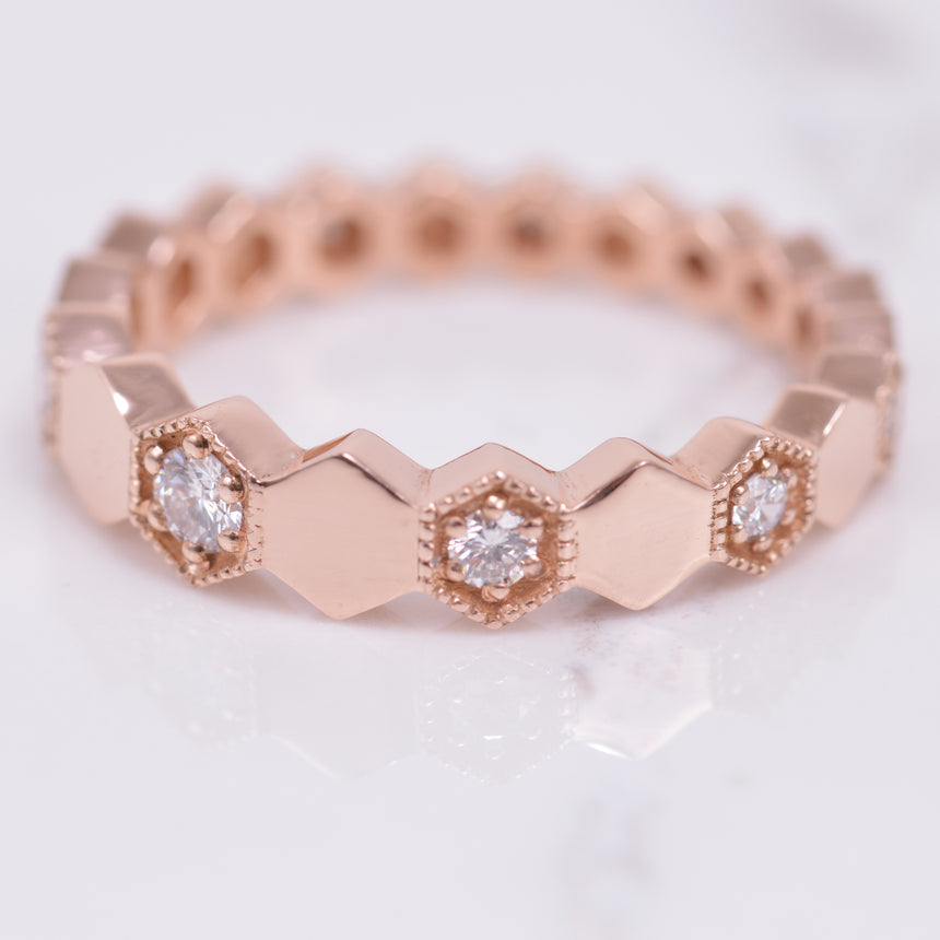 diamond and rose gold hexagon band