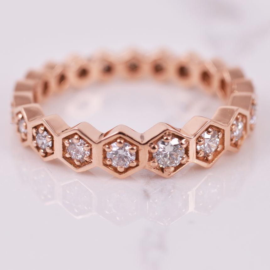 diamond rose gold hexagon eternity band