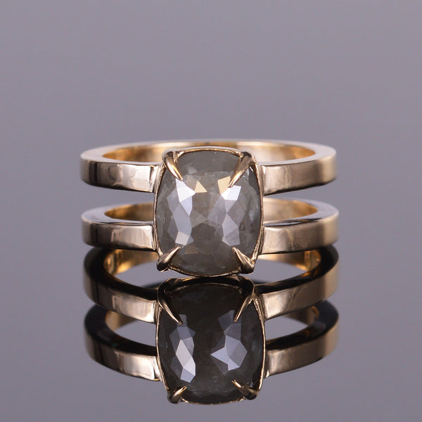 gray diamond double band gold ring