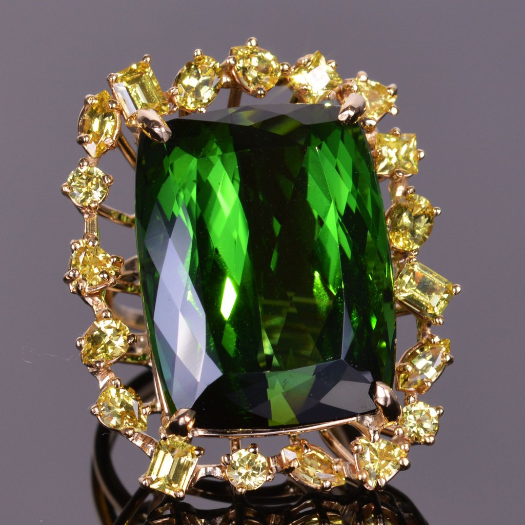 Green Tourmaline and Canary Yellow Sapphire Ring