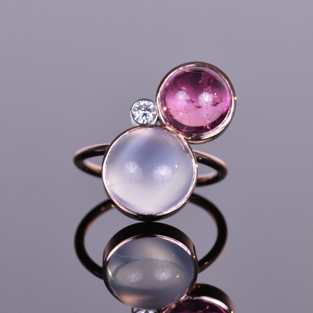Moonstone, Rubellite, and Diamond Rose Gold Ring