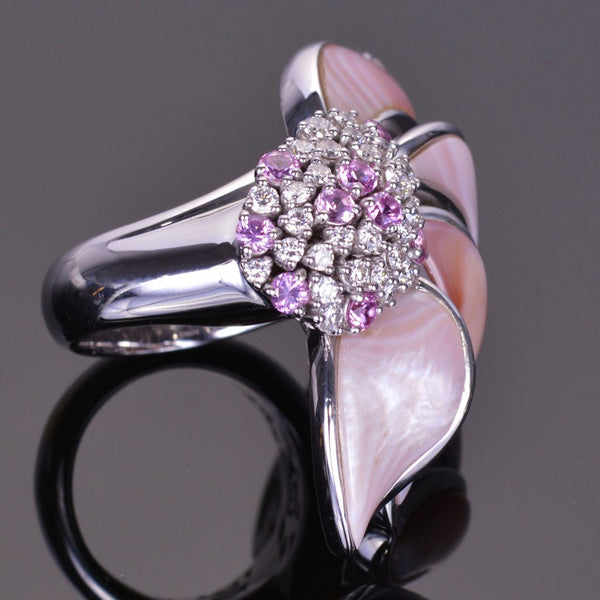 Diamond Pink Sapphire and Mother of Pearl Flower Ring