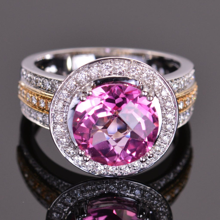 round pink topaz and diamond ring in white and yellow gold
