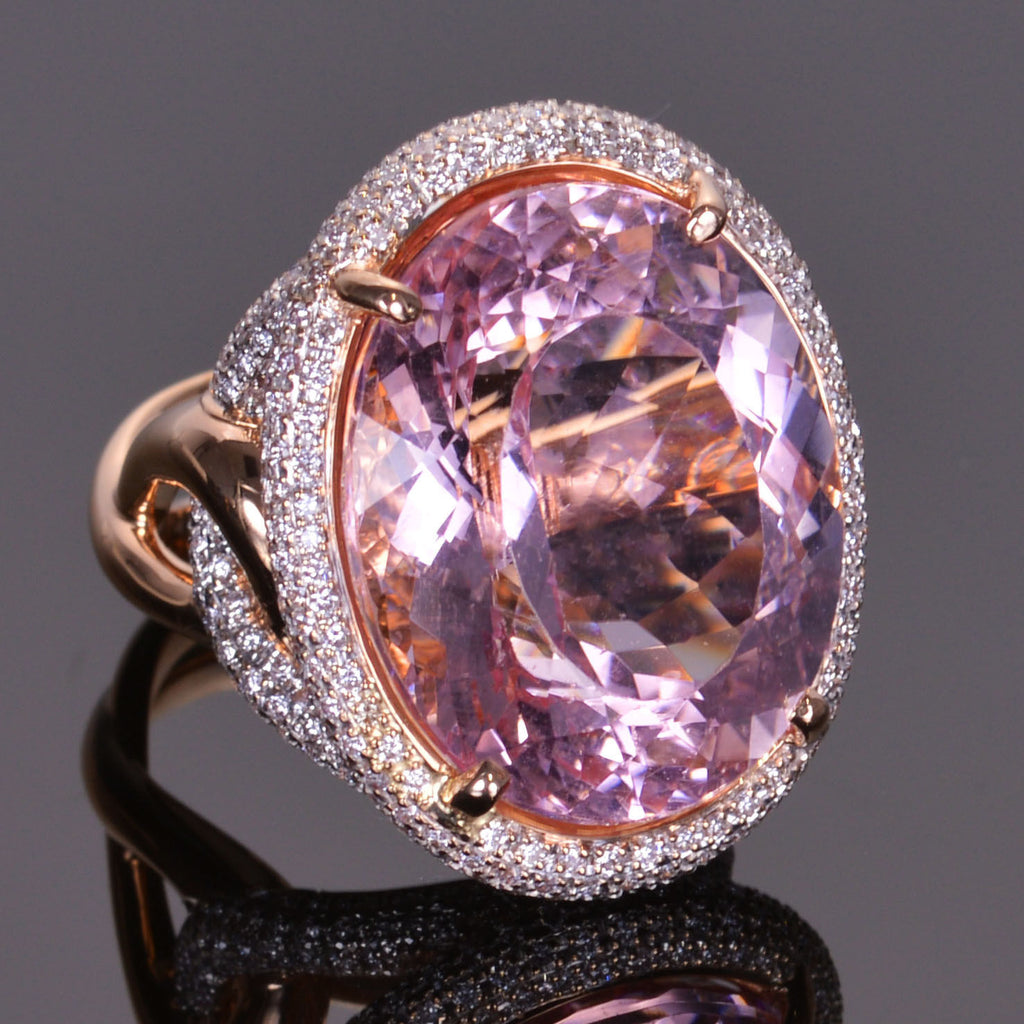 Morganite and Pave Diamond Cocktail Ring