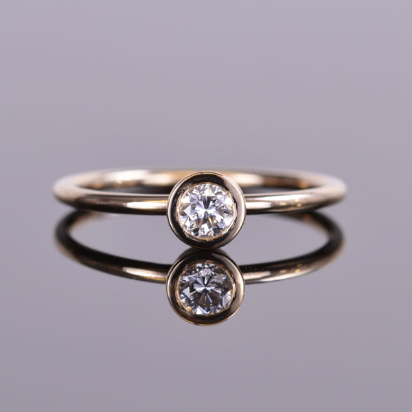 LXV Della Bezel Round Diamond Ring in 14k Yellow Gold