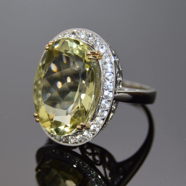 Lemon Topaz Oval and White Sapphire Cocktail Ring