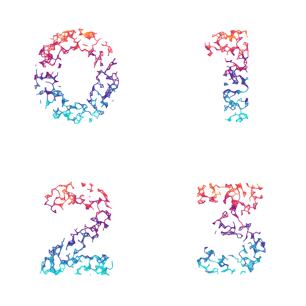 Wires Sparse Rainbow - Generative Lettering