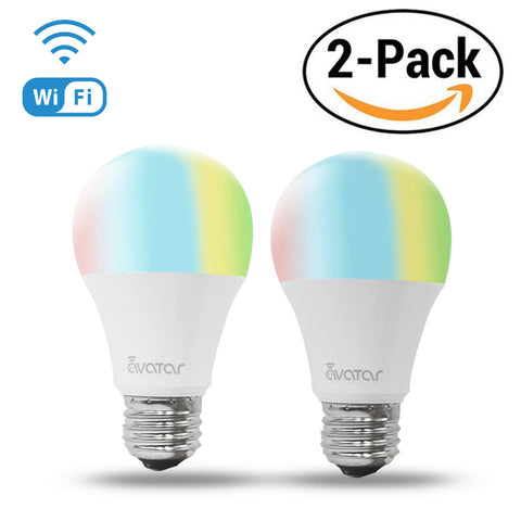 Avatar Controls Wifi Smart LED Bulb,6.5W E26 Multi-color Changing Remote Control ON/OFF Dimmable Home Lighting,Work with Google Assistant,Compatible with Alexa 2-Pack