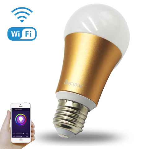Avatar Controls Smart Wifi Light Bulb,Multi-Color Dimmable 7W RGB LED Bulbs,Wireless Remote Control Switch ON/OFF Home Lighting on APP by Android & IOS,Compatible with Alexa/Google Assistant-Gold