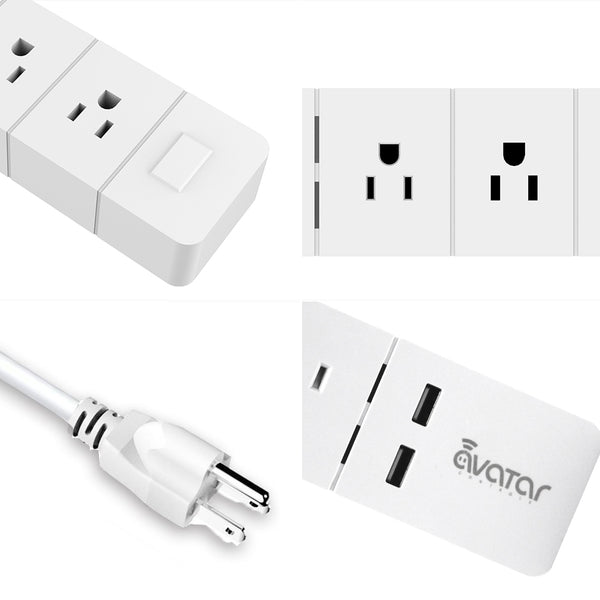 ... Avatar Controls WiFi Smart Power Strip,Multi-Plug Outlet Timer Switch  with 3 AC ...