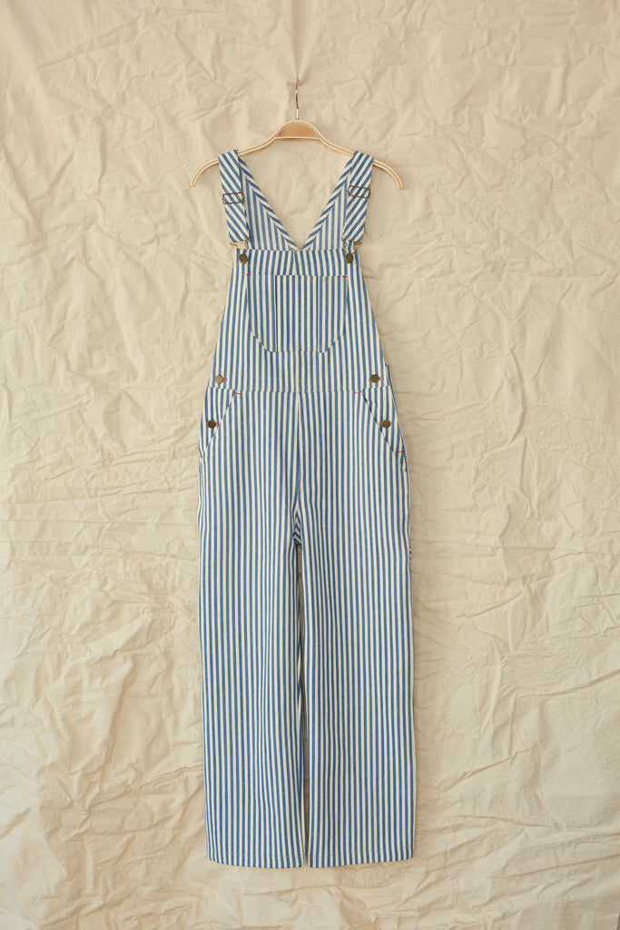 Sierra Overall- Medium Wash Stripe Denim