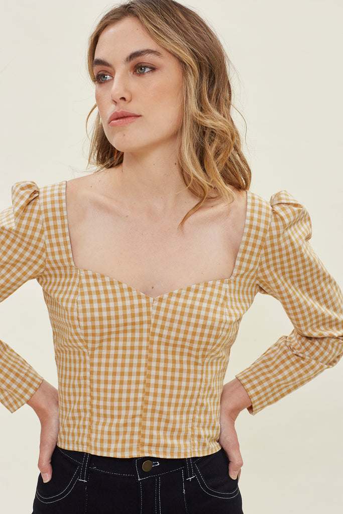 Georgia Blouse - Mustard Gingham