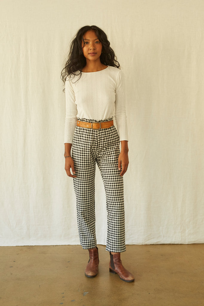 Leisure Pant - Black & White Gingham