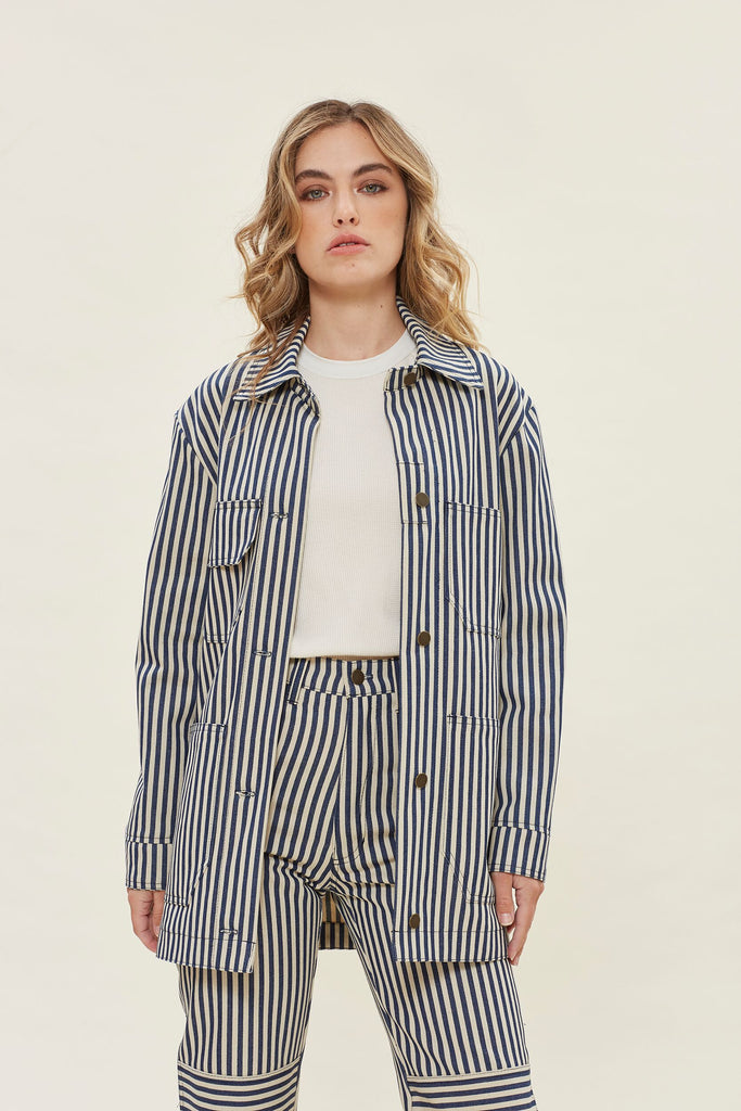 Redwood Chore Coat - Stripe Denim