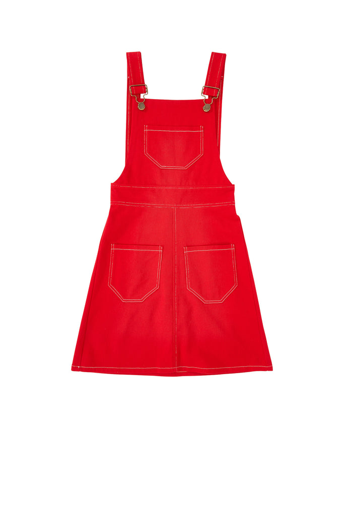 Red overall dress for women