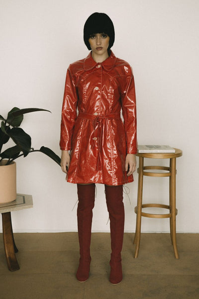 Slicker Red Leather Trench