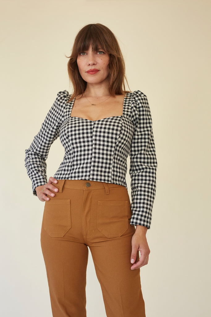 Georgia Blouse - B & W Gingham
