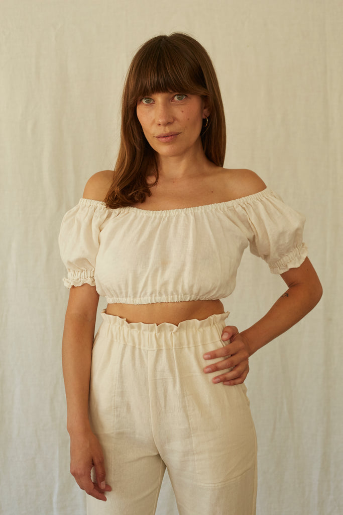 Clementine Top - Ivory Linen