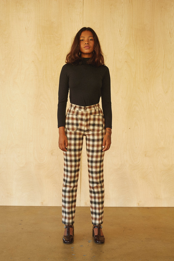 Perfected Ranch Pant -Cream Plaid