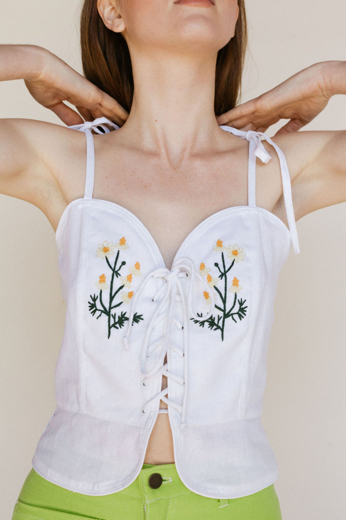 Poppy Tank - Embroidered White Linen