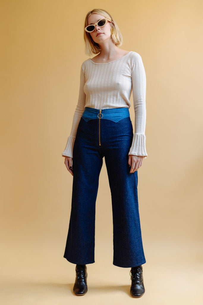 Two Tone Jesse Zip Up Pant