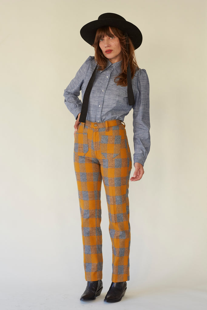 Perfected Ranch Pant -Marigold Plaid