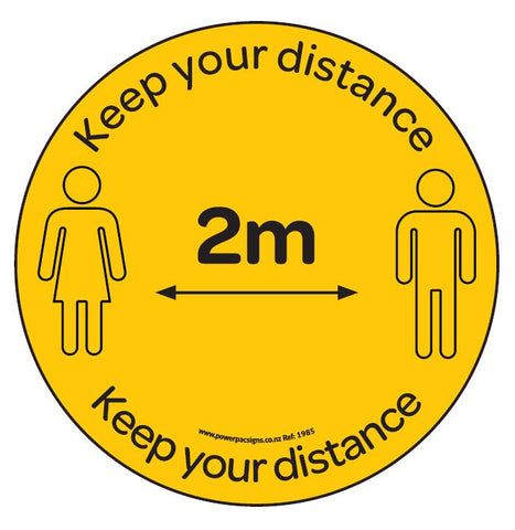 Floor Sticker - Keep Your Distance Yellow