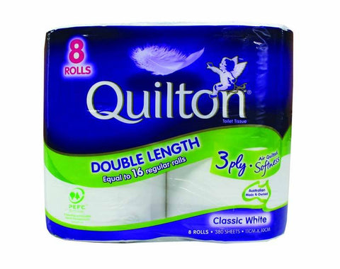 Quilton Toilet Rolls 3-ply 380 sht 8 pack
