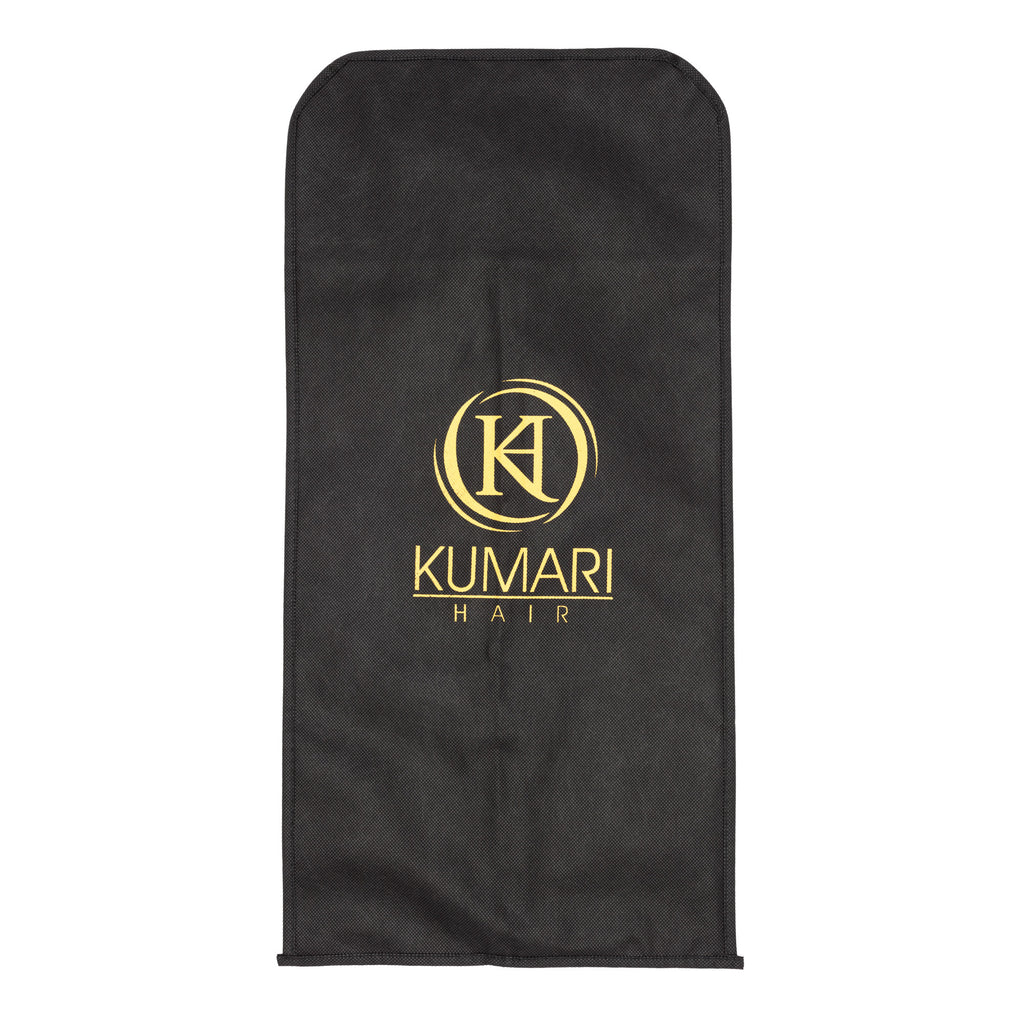 KUMARI Hair Extensions Carrier Bag & Hanger Set (Black/Gold)