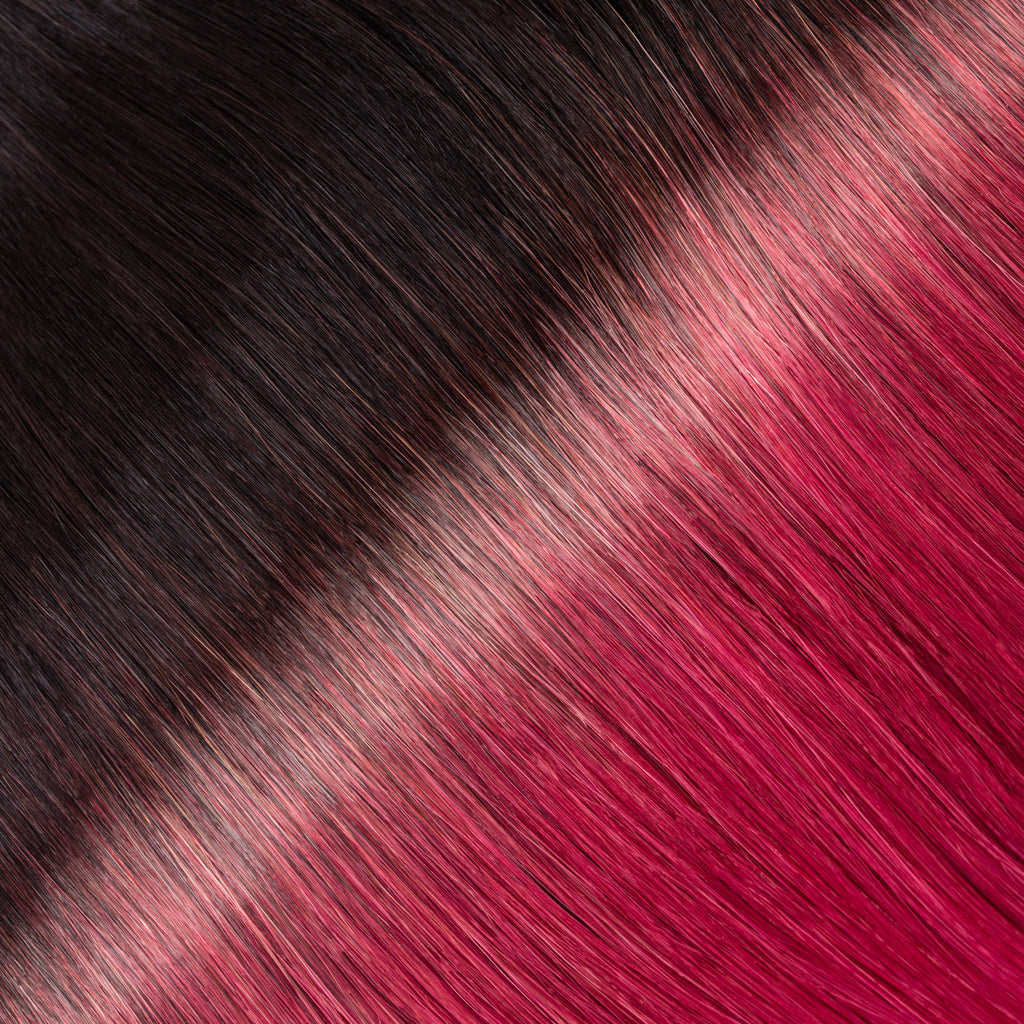 "ELEGANT 50G 20"" Tape-In Extensions Ombre Off Black/Burgundy (1B/Bug)"