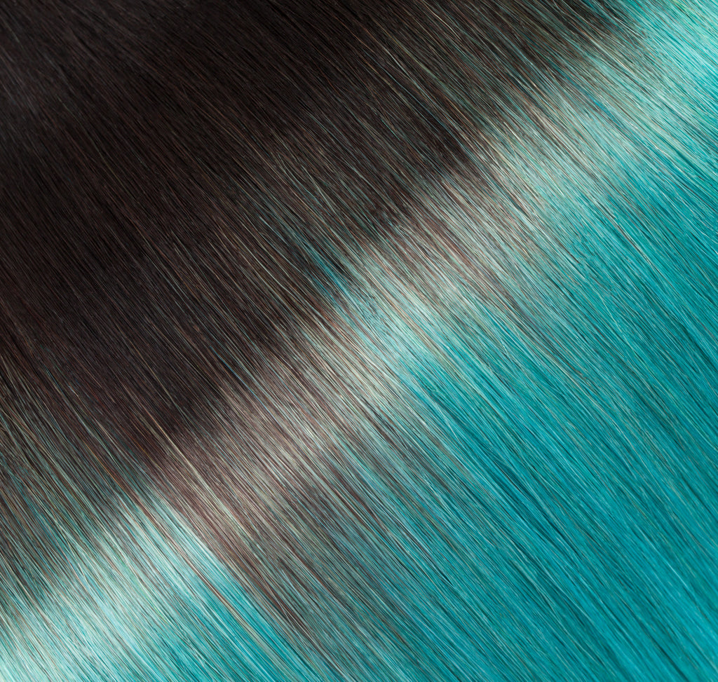 "ELEGANT 50G 20"" Tape-In Extensions Ombre Off Black/Teal (1B/Teal)"