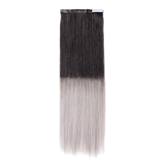 "ELEGANT 50G 20"" Tape-In Extensions Ombre Off Black/Silver Grey (1B/Silver)"